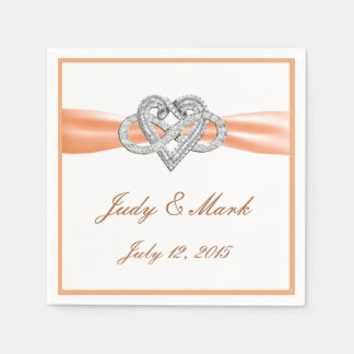 Custom Orange Infinity Heart Paper Napkins