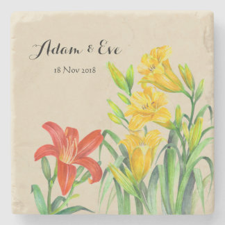Custom Orange Lily and Yellow Day Lillies Stone Coaster