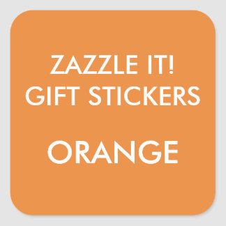 Custom ORANGE SQUARE LARGE Gift Stickers Template