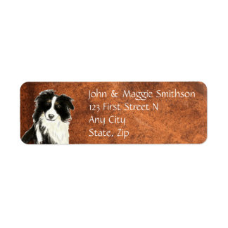 Custom Original Watercolor Border Collie Dog pet Return Address Label