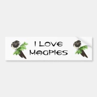 Custom Original Watercolor Magpie Pine Branch Bumper Sticker