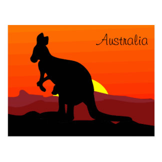 Custom Outback Australian Kangaroo at Sunset Postcard