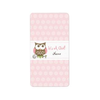Custom Owl baby shower candy wrapper Address Label