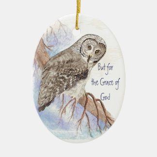 Custom Owl Dated But for the Grace of God Quote Double-Sided Oval Ceramic Christmas Ornament