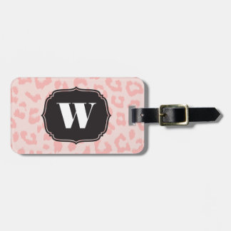 Custom Pale Pink Leopard Print Bag Tag