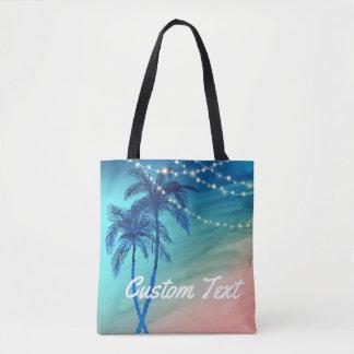 Custom Palm Tree Beach Tote Bag | Teal Blue Peach