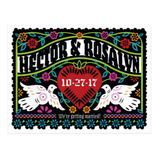 Custom Papel Picado Style Lovebirds Save the Date Postcard