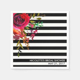 Custom Paper Napkins, Bridal Shower - Rose Stripes Paper Napkins