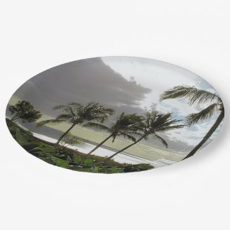 CUSTOM PAPER PLATES/PALM TREES, OCEAN AT DUSK/PHOT 9 INCH PAPER PLATE