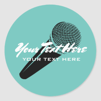 Custom party favor stickers with microphone image