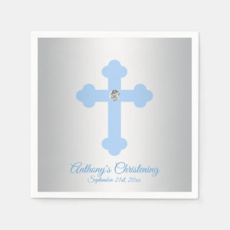 Custom Pastel Blue Boy Cross CHRISTENING BAPTISM Disposable Serviette
