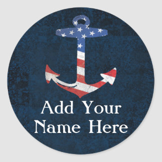 Custom Patriotic American Flag Anchor Nautical Round Sticker