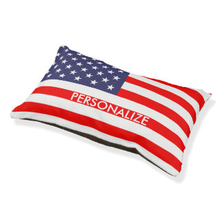 Custom patriotic American flag dog bed for pets