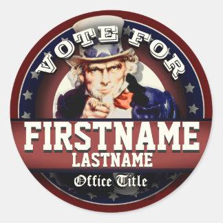 Custom Patriotic Uncle Sam Classic Round Sticker