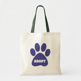 Custom Paw Print Adopt Budge Tote Bags