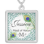 Custom Peacock Personalised Maid of Honour Necklac Custom Necklace