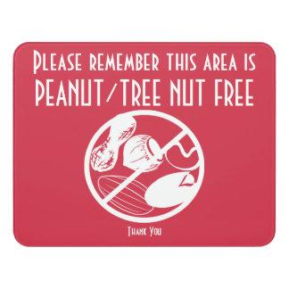 Custom Peanut Tree Nut Free Area Nut Free Zone Door Sign