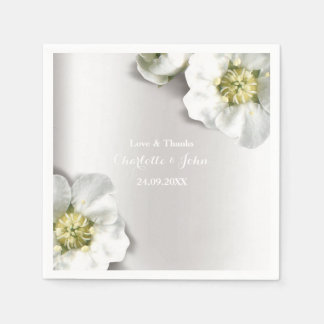 Custom Pearly White Gray Silver Metallic Floral Disposable Serviette