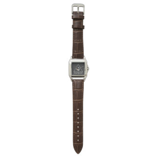 Custom Perfect Square Brown Leather/logo Watch