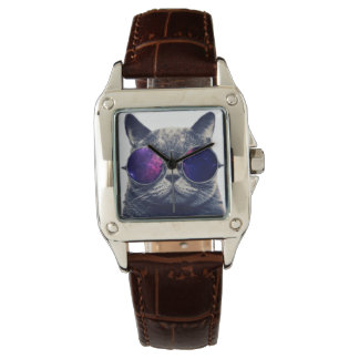 Custom Perfect Square Brown Leather Watch