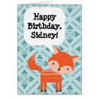 Custom Personalised Children's Birthday Red Fox Card
