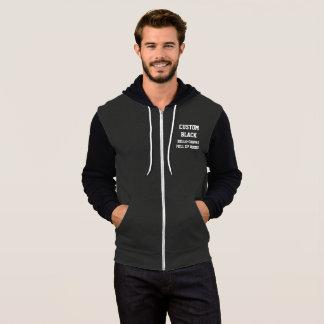 Custom Personalised Men's BLACK FULL ZIP HOODIE