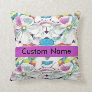 custom personalised name floral throw pillow