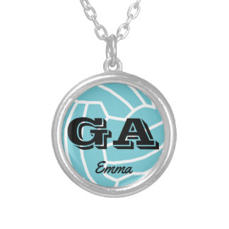 Custom Personalised Netball Positions Silver Plated Necklace