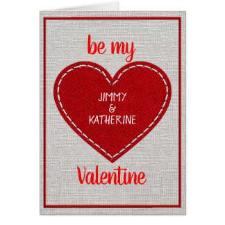 Custom Personalised Red Heart Valentine's Day Card