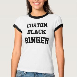 Custom Personalised Women's BLACK RINGER T-SHIRT