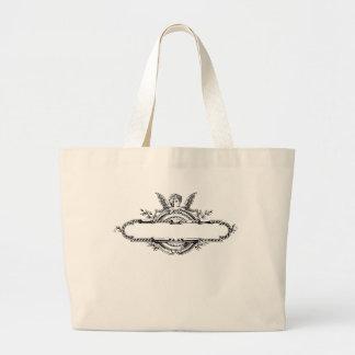 Custom personalize angel cherub fleur di lis print jumbo tote bag