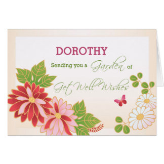Custom, Personalize Name Get Well Wishes, Flowers, Card