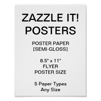 "Custom Personalized 8.5""x11"" Semi-Gloss Poster"