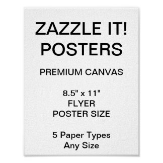 "Custom Personalized 8.5"" x 11"" Canvas Poster Blank"