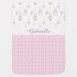 Custom Personalized Baby Name Pink Bunnies Easter Swaddle Blankets