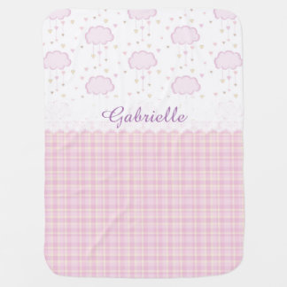 Custom Personalized Baby Name Pink Clouds Buggy Blanket