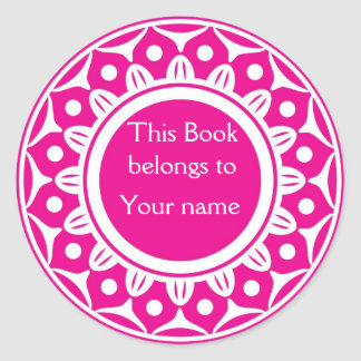 Custom Personalized Bookplates - Pink And White Round Sticker