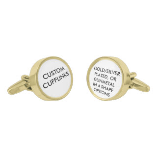 Custom Personalized Cufflinks Blank Template Gold Finish Cufflinks