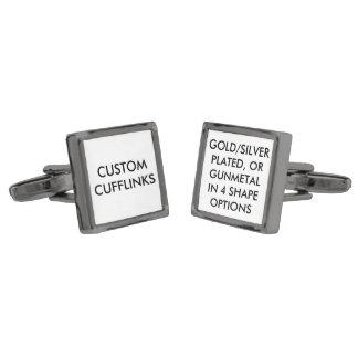 Custom Personalized Cufflinks Blank Template Gunmetal Finish Cufflinks