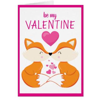 Custom Personalized Fox Heart Valentine's Day Card