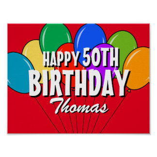 Custom personalized Happy Birthday party posters