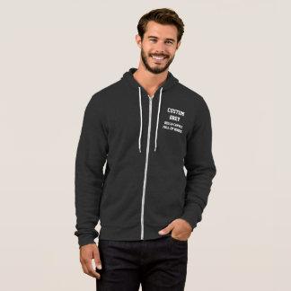 Custom Personalized Men's GREY FULL ZIP HOODIE