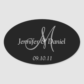 Custom Personalized Monogram Wine Labels Oval Sticker