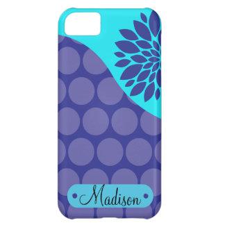 Custom Personalized Name Teal Purple Polka Dots iPhone 5C Case