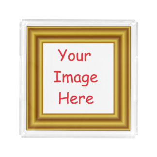 Custom Personalized Picture & Gold Frame Printed Acrylic Tray