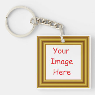 Custom Personalized Picture & Gold Frame Printed Key Ring