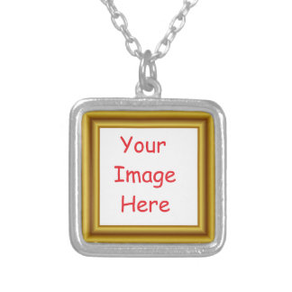Custom Personalized Picture & Gold Frame Printed Silver Plated Necklace