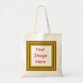 Custom Personalized Picture & Gold Frame Printed Tote Bag