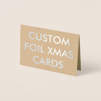 Custom Personalized Silver Foil Chrismtas Card