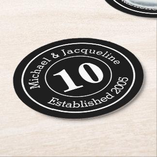 Custom Personalized Wedding Anniversary 10th Round Paper Coaster